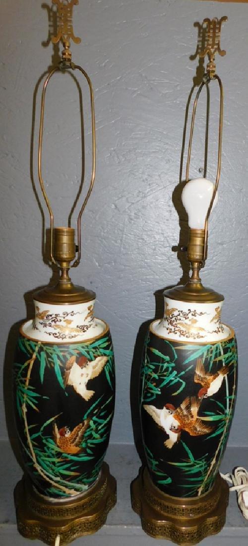 Pr HP Oriental Bamboo leaf & falcon porc vases.