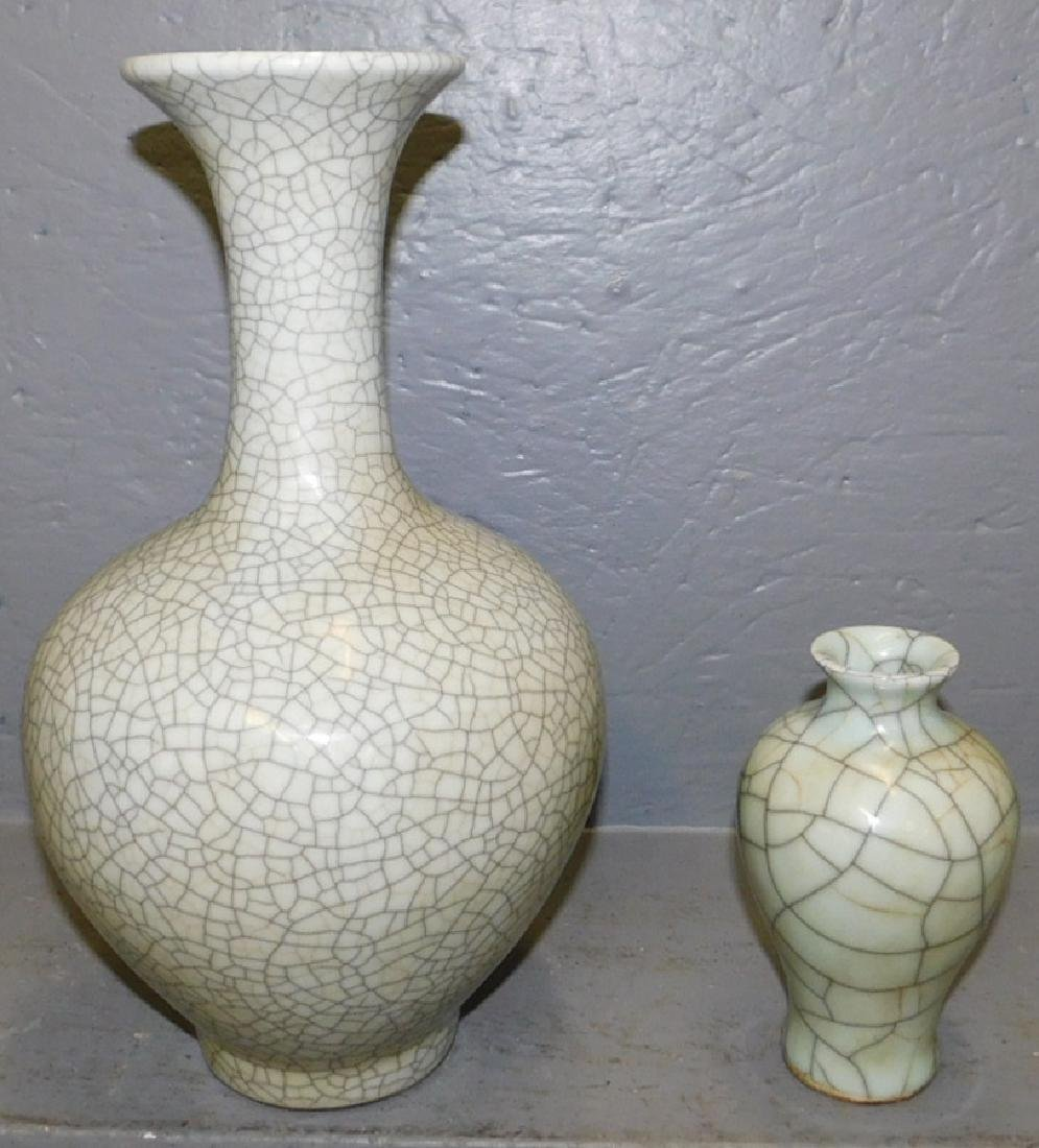 "2 Oriental crackleware vases. To 14"" tall."