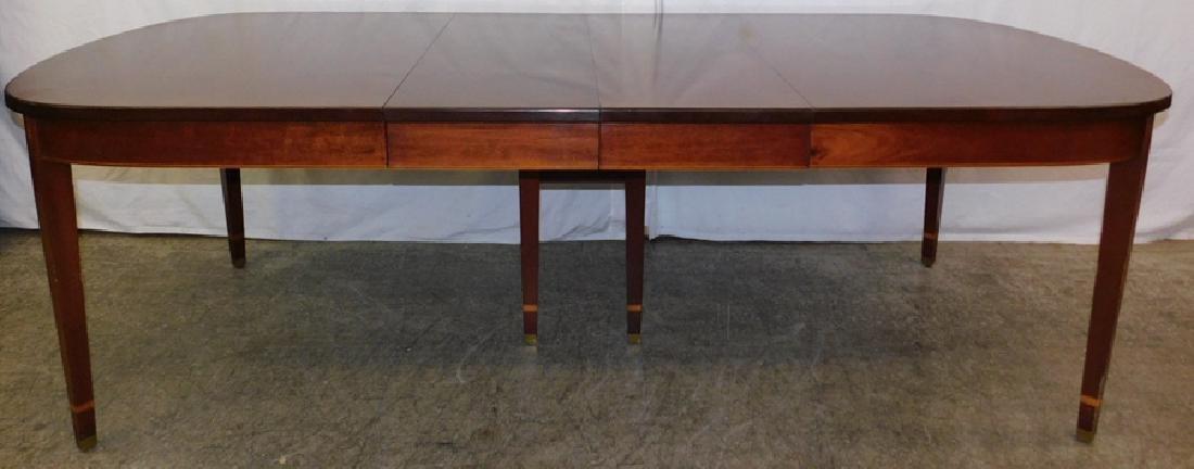 Inlaid HW mahog table w/ 2 leaves by Norris