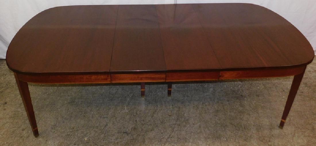 Inlaid HW mahog table w/ 2 leaves by Norris - 3
