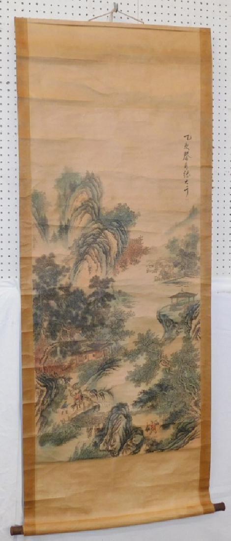 Oriental watercolor scroll.