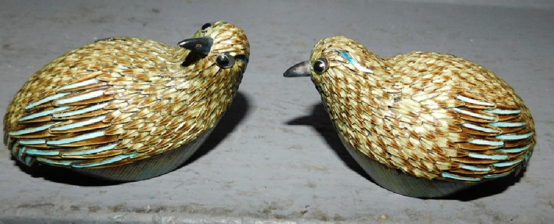 Pair of sterling and enamel quail figures. - 2