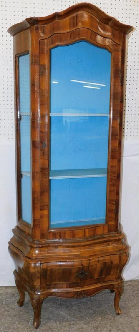 Burl walnut & glass French vitrine.