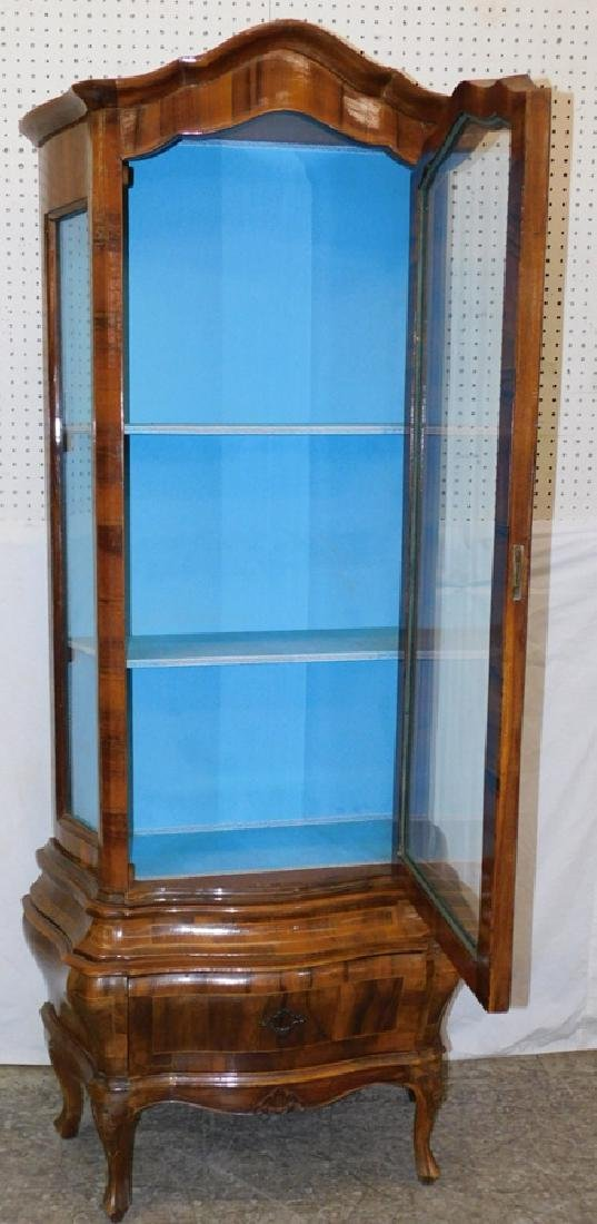 Burl walnut & glass French vitrine. - 2