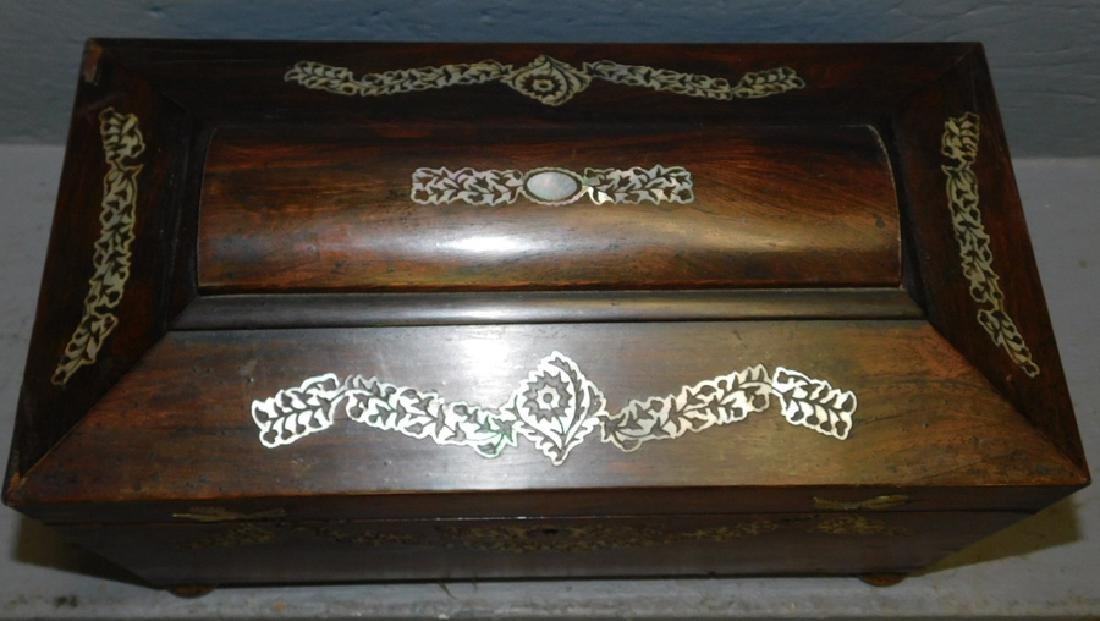 Rosewood mother of pearl inlaid fitted tea caddy. - 2
