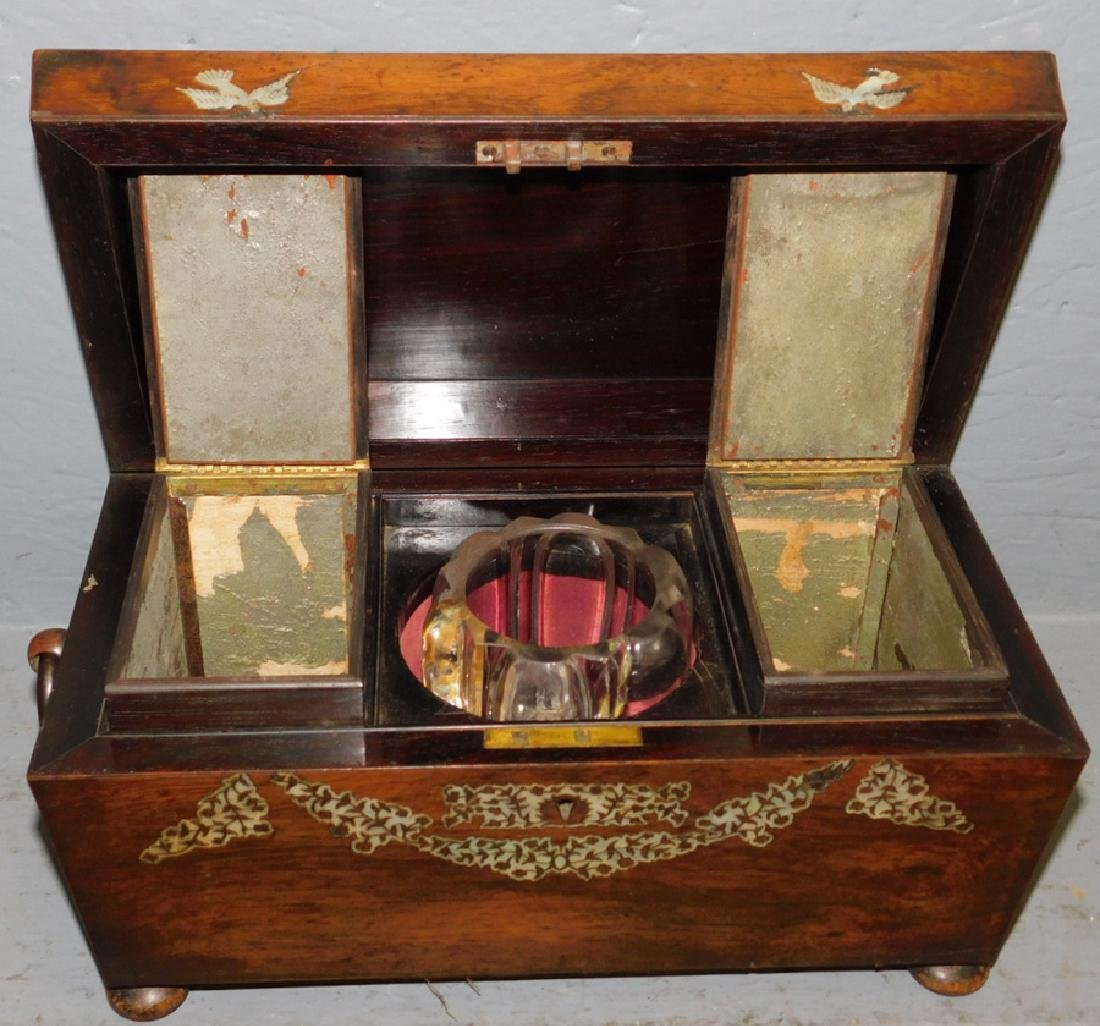 Rosewood mother of pearl inlaid fitted tea caddy. - 4