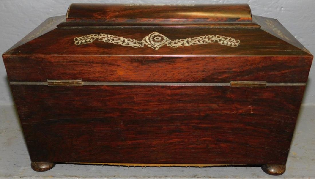 Rosewood mother of pearl inlaid fitted tea caddy. - 5