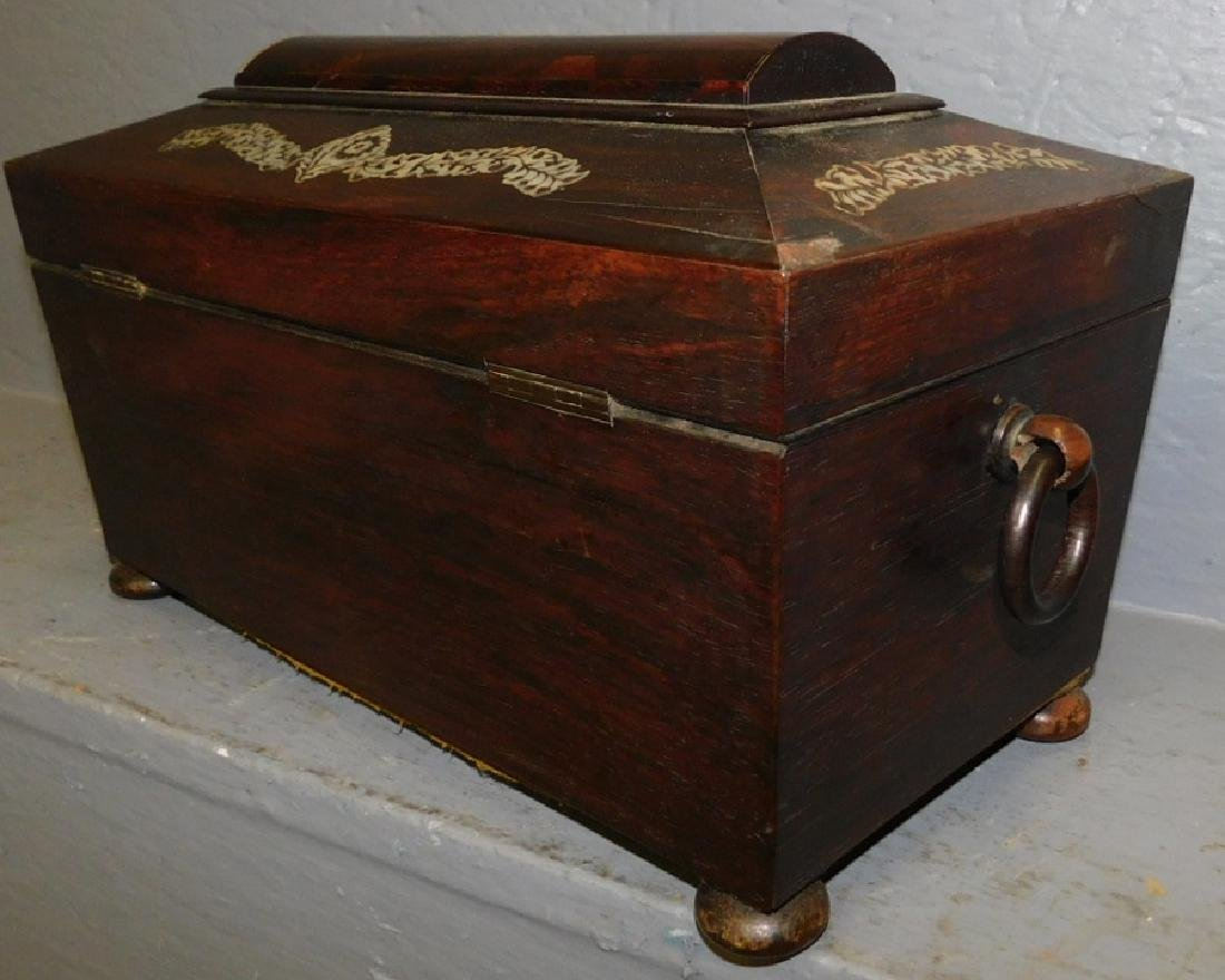 Rosewood mother of pearl inlaid fitted tea caddy. - 6