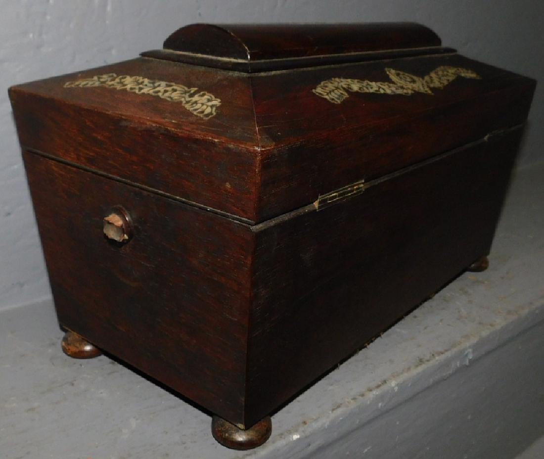 Rosewood mother of pearl inlaid fitted tea caddy. - 7