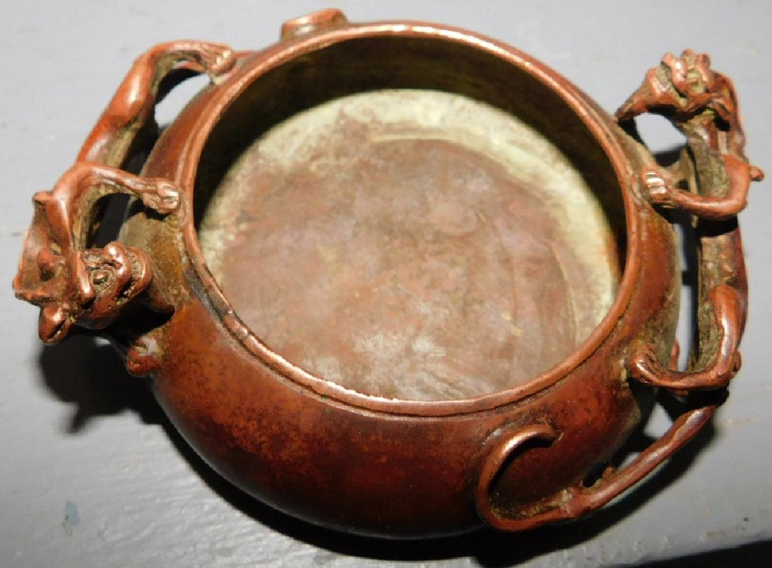 """Bronze vase, pin tray and opium pipe. To 9 1/2"""" tall. - 2"""