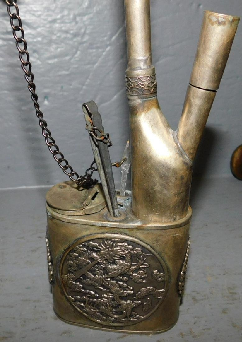 "Bronze vase, pin tray and opium pipe. To 9 1/2"" tall. - 5"