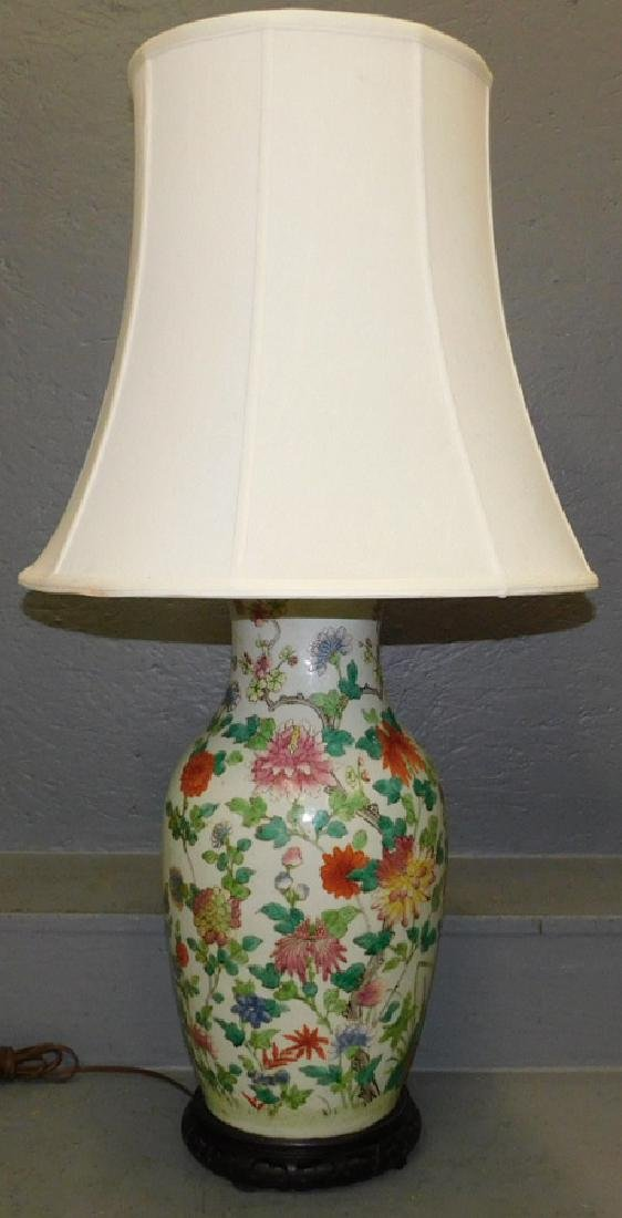"Early Oriental vase lamp. 34"" tall."