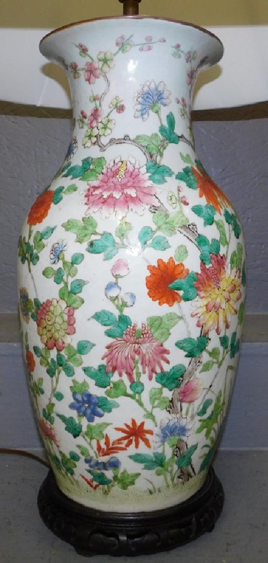 "Early Oriental vase lamp. 34"" tall. - 2"