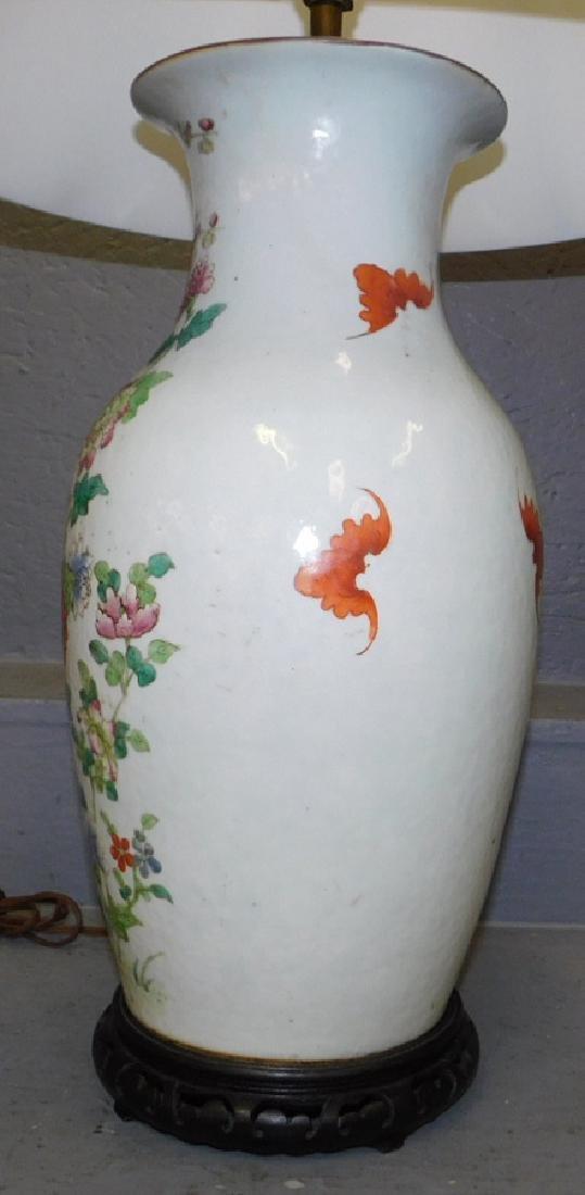 "Early Oriental vase lamp. 34"" tall. - 3"