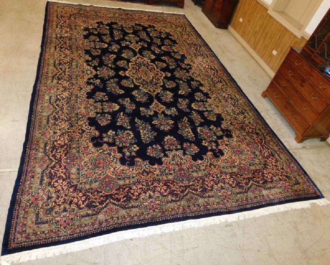 "18'6"" x 11'9"" handmade Kerman rug."