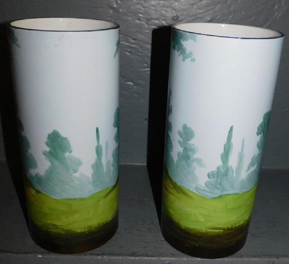 Pr hand painted courting scene porcelain vases. - 2