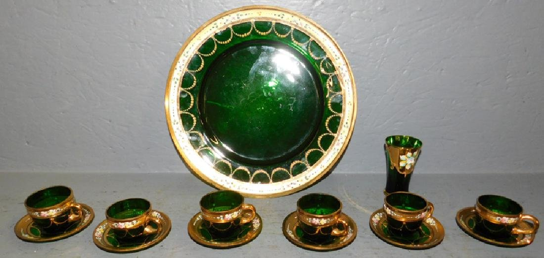 14 pc. green glass dessert set & wine glass.