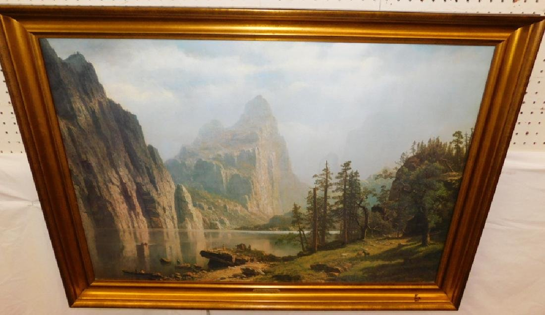 Canvas print. Merced River. Signed Albert Birstadt