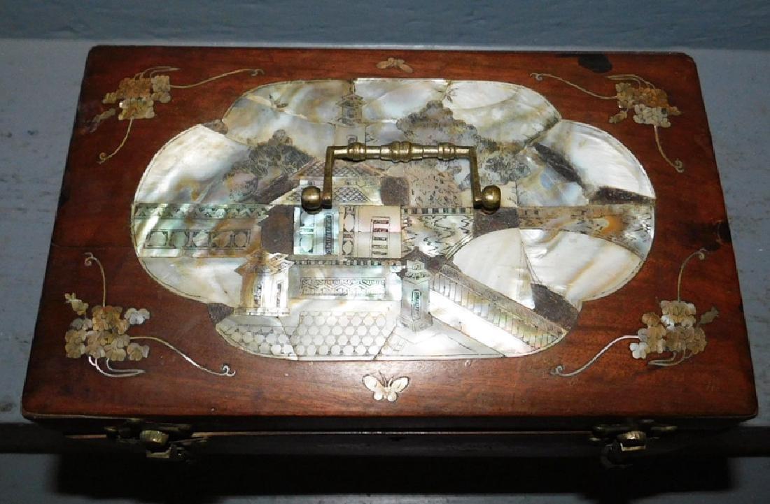 Mother of pearl inlaid walnut lock box. - 2