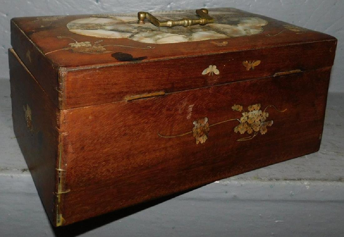 Mother of pearl inlaid walnut lock box. - 4