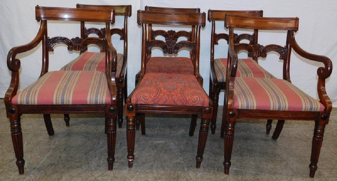 6 period mahog Sheraton chairs with scroll back.