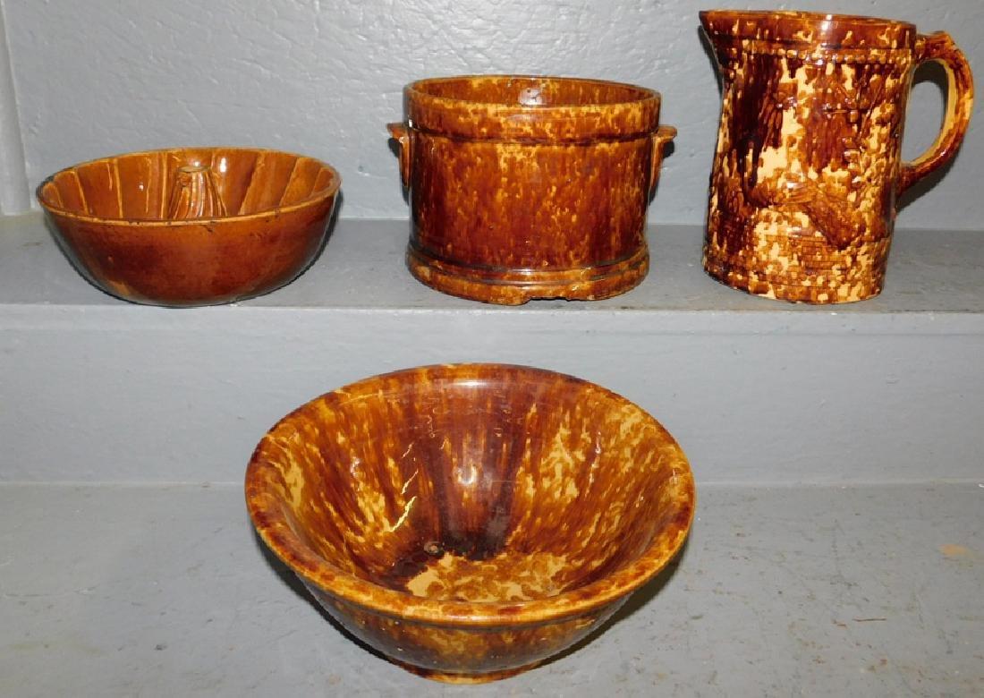 4 pcs. Bennington pottery- jelly mold, butter crock