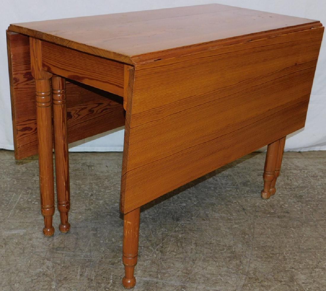 Heart pine drop leaf 6 leg table
