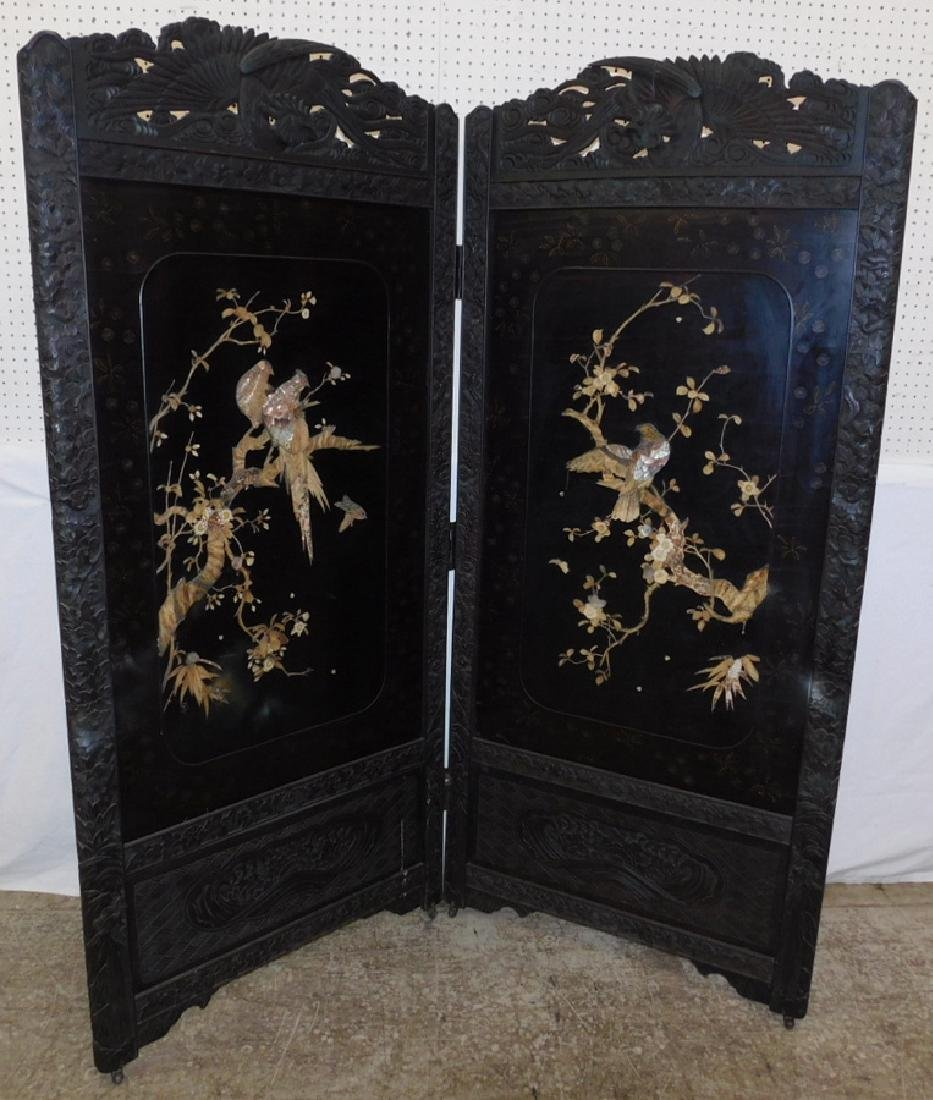 Chinese carved and lacquered screen