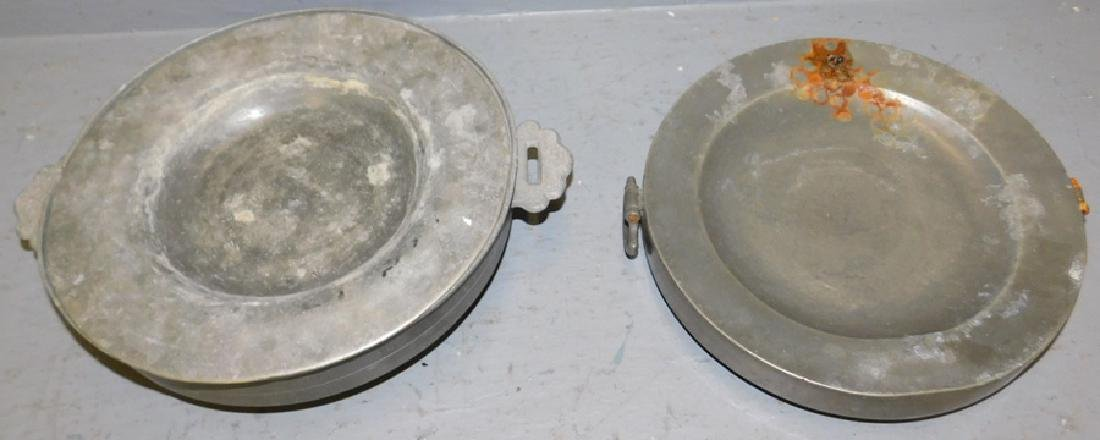 Pewter hot water bowl and plate. As is.