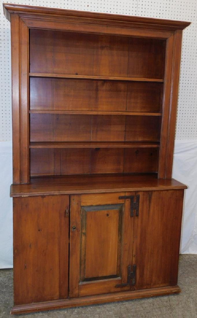 Pine primitive step back pewter cabinet.