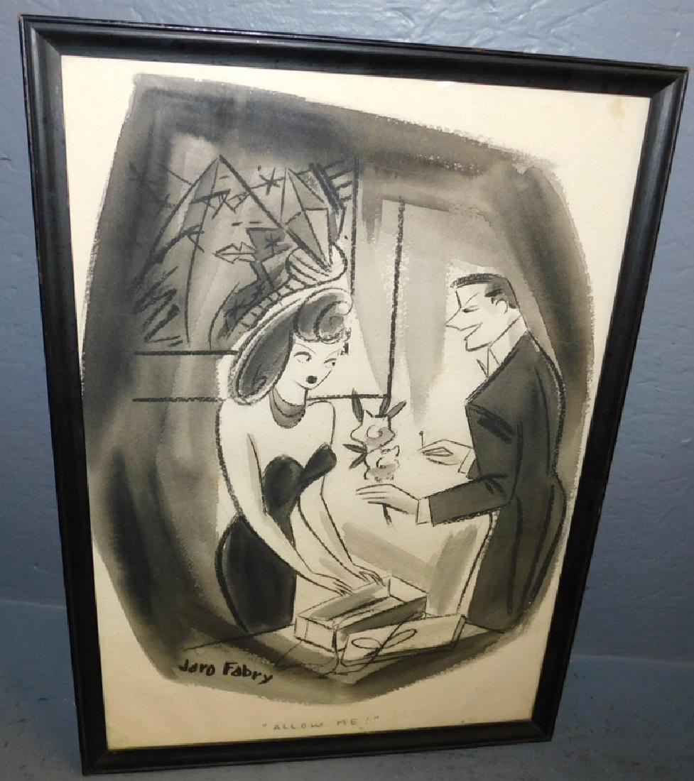 "Jaro Fabry Watercolor - ""Allow Me"". 14"" x 22""."