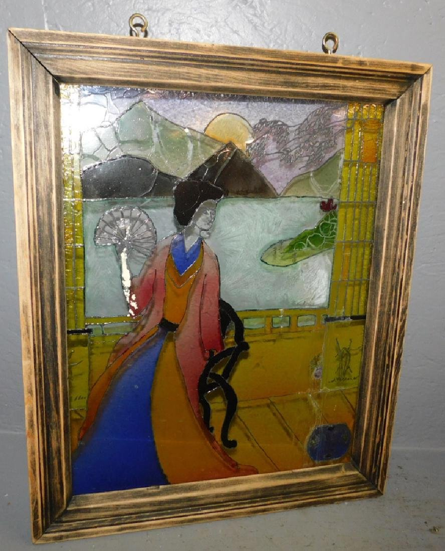"""Oriental Painting on glass. 18"""" x 24""""."""