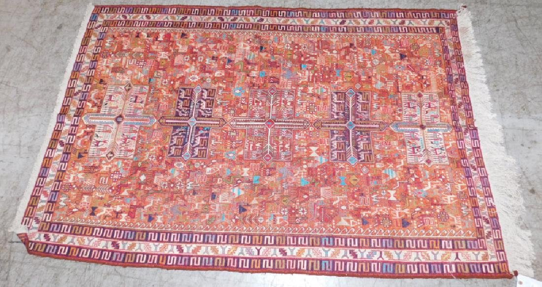"6'4"" x 4' antique Kilim rug."
