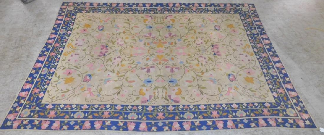 "9'9"" x 14'3"" antique needlepoint rug"