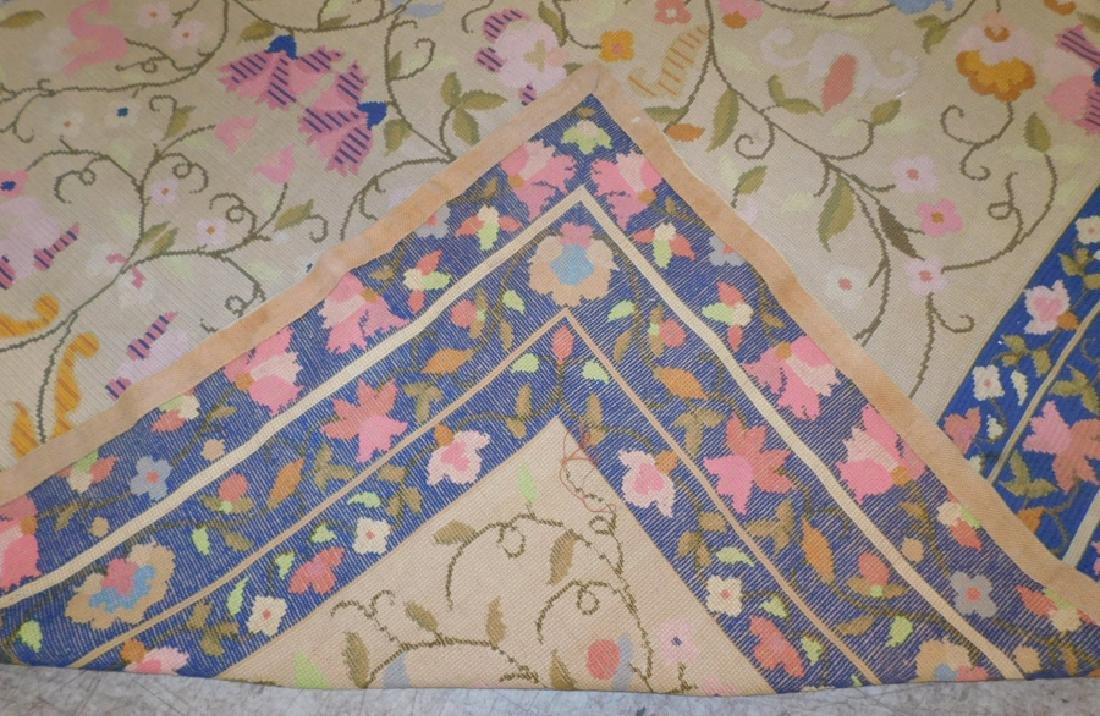 "9'9"" x 14'3"" antique needlepoint rug - 4"