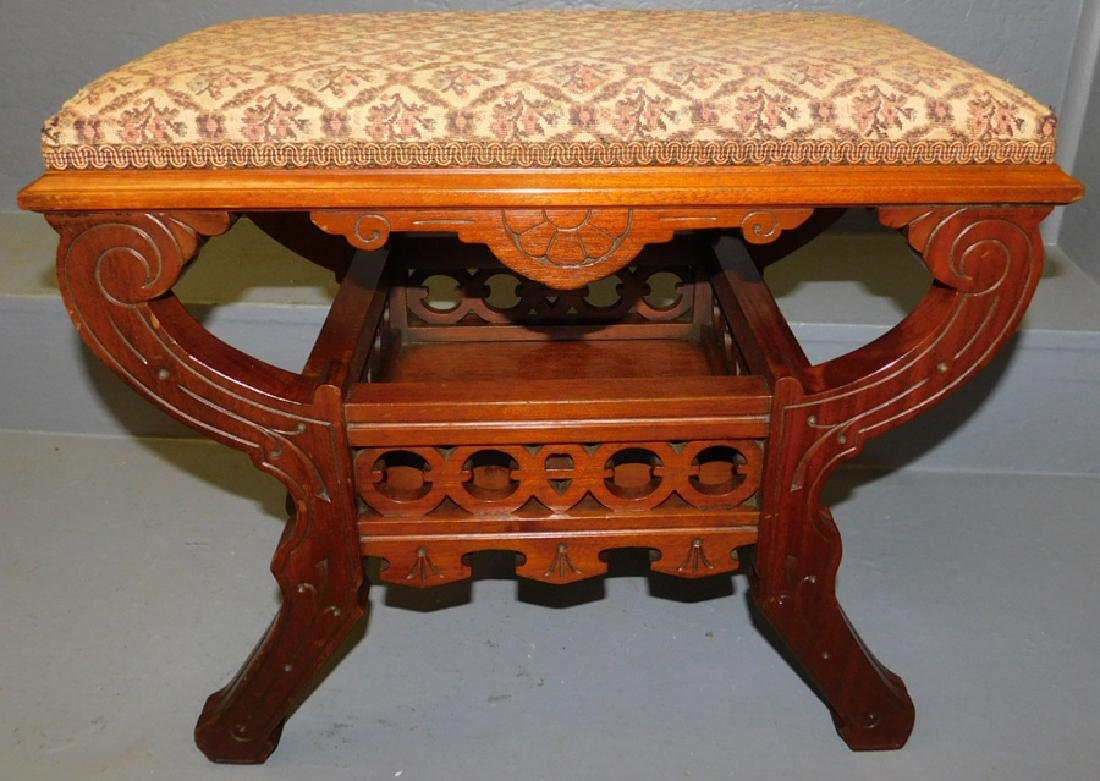 Victorian walnut stool.