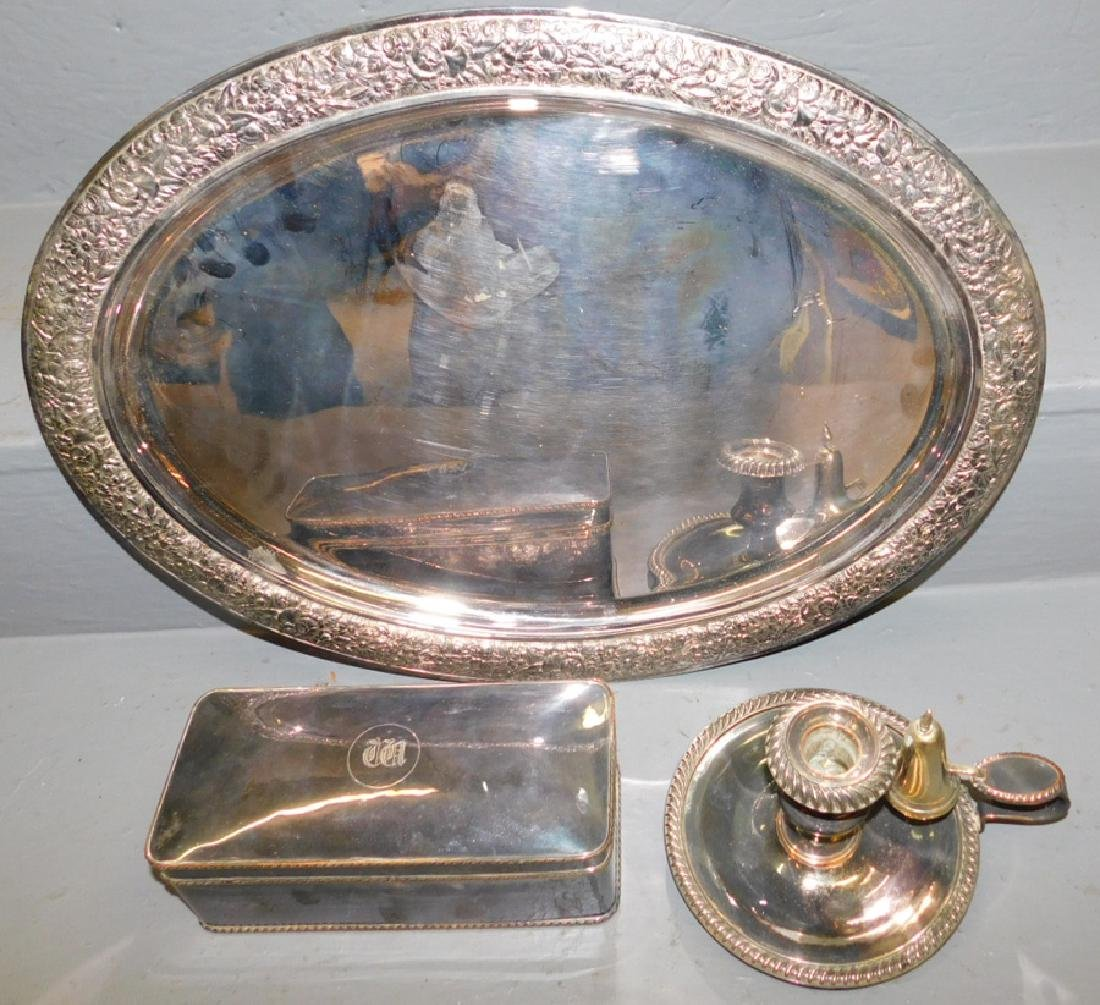 Tiffany & Co. s.p. tray, w/s.p. box and candlestick