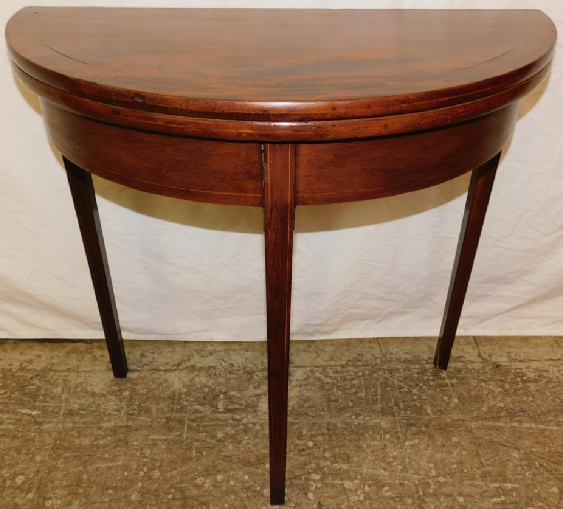 Hepplewhite mahogany inlaid demilune game table
