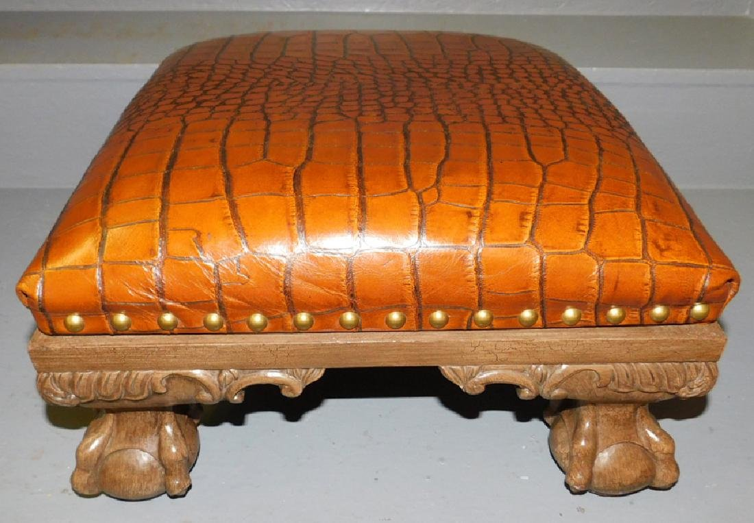 Leather ball and claw foot stool.