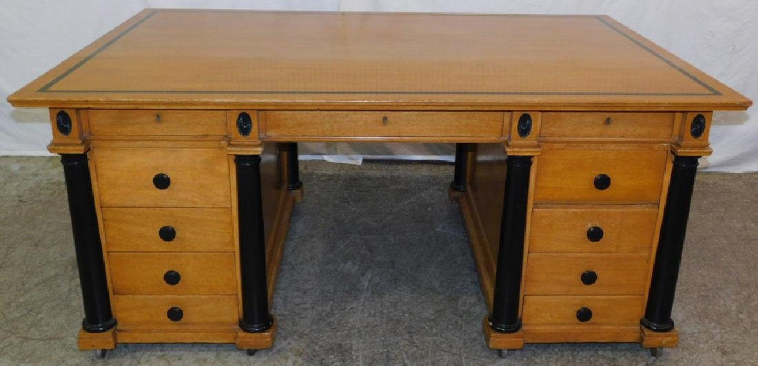 Large Biedermeier style executive partners desk.