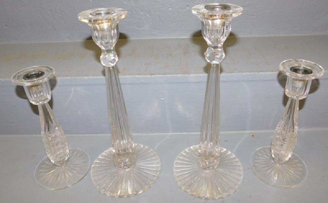 2 pair cut glass candlesticks with tear drop stems