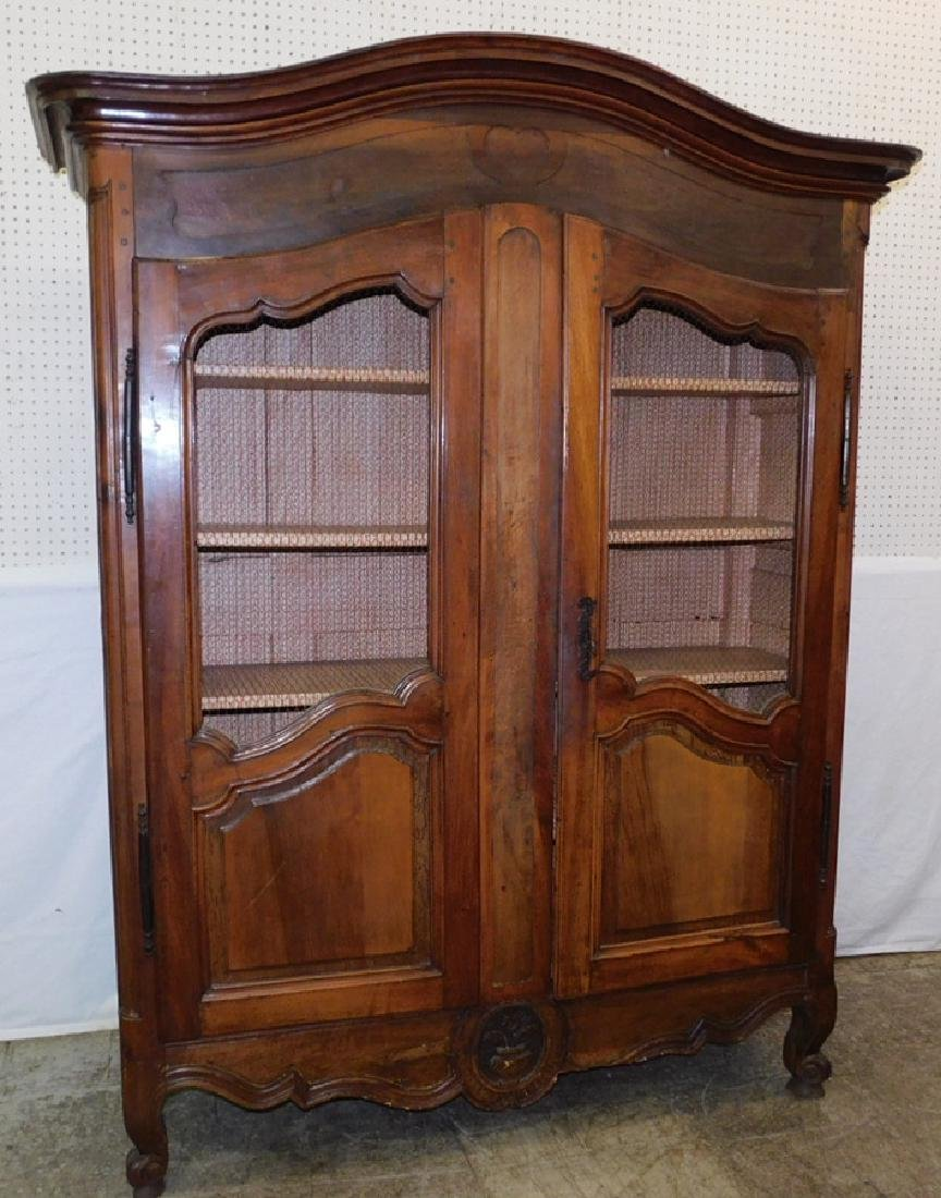 18th C Walnut French Country cupboard.