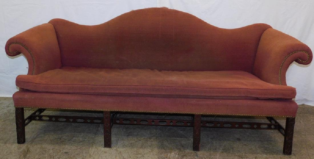 19th C Chinese Chippendale camel back sofa .