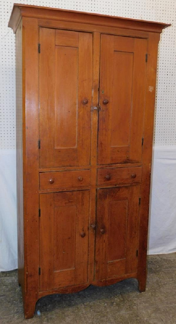 19th C two drawer pine cupboard.