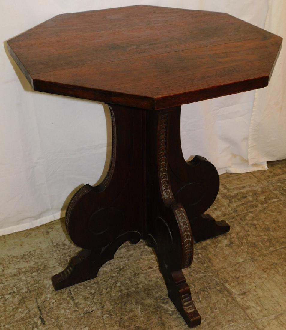 Italian style Walnut center pedestal table.