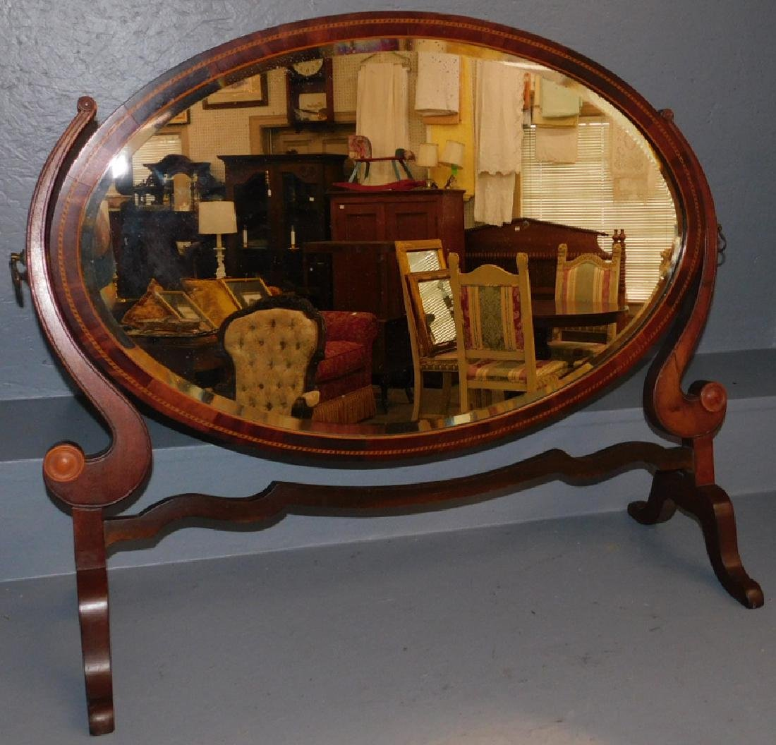 Mahogany Federal inlaid dressing mirror.