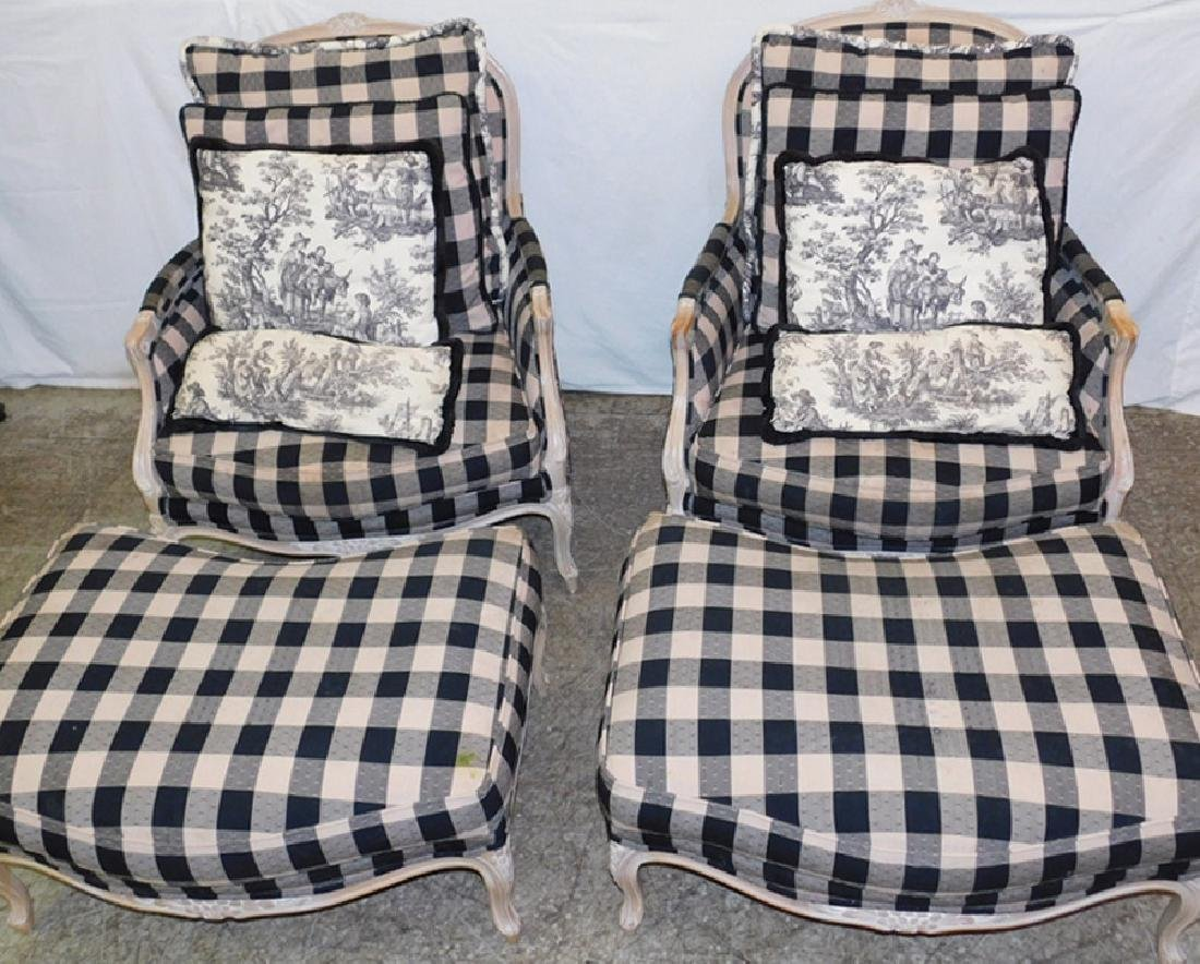 2 pr. French bergeres w/ottomans, throw pillows.