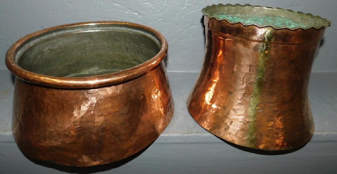 2 heavy copper hand hammered jardinieres.