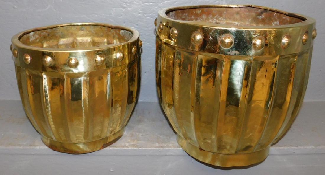 2 English Brass jardinieres.