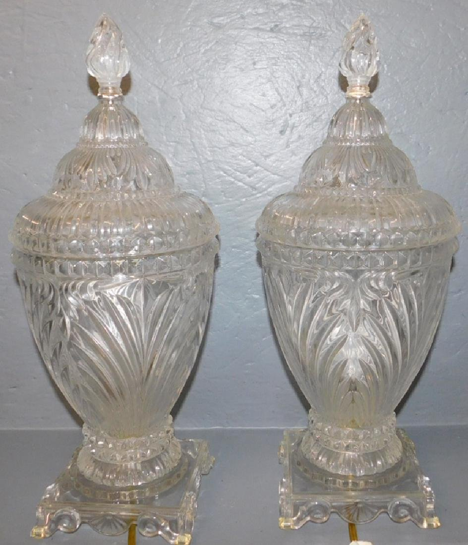 Pair of covered glass urn lamps.